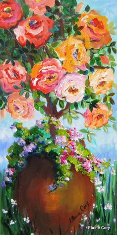 Rose Tree Original Painting Wall art canvas by ElainesHeartsong