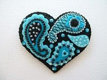 embroidered felted heart