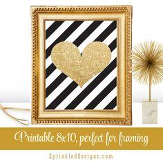 Gold Glitter Heart Black White Stripes  by SprinkledDesign on Etsy