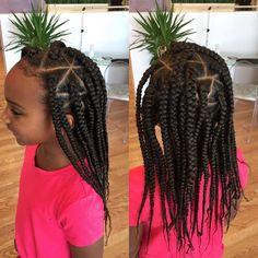 Box Braids Hairstyles for Kids 2018 - Natural Hair - . Box Braids Hairstyles for Kids 2018 – Natural Hair – Jumbo Box Braids, Kids Box Braids, Short Box Braids, Blonde Box Braids, Braids For Black Hair, Girls Braids, Hair Girls, Long Braids, Short Hair