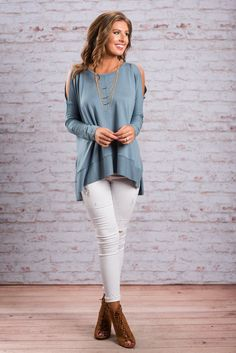 """""""Catching Feelings Top, Blue""""We have caught all the feelings for this mocha top! It's super soft jersey knit fabric and loose, slouchy-chic cut go hand in hand! #newarrivals #shopthemint"""