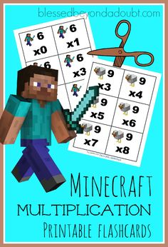 FREE Minecraft Multiplication flashcards! Super FUN way to memorize your facts.