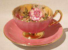 Vint Aynsley Dark Pink Cabbage Rose Gold Gilding Cup Saucer Set Oban Shape | eBay