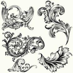 Set of vctor decorative ornaments in vintage style Free Vector 4 Tattoo, Dark Tattoo, Scroll Tattoos, Motif Arabesque, Filigree Tattoo, Lion Photography, Graffiti Lettering Fonts, Baroque Decor, Tattoo Portfolio