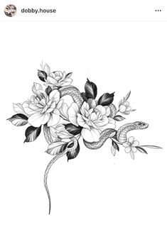 Snake And Flowers Tattoo, Snake Tattoo, Flower Tattoo Designs, Flower Designs, Rose Tattoos, Flower Tattoos, Tribal Tattoos, Plant Tattoo, Tattoo Feminina