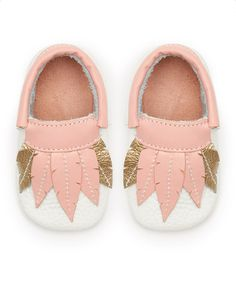Look at this #zulilyfind! Pink & White Feather Leather Moccasins by Mother's Love #zulilyfinds