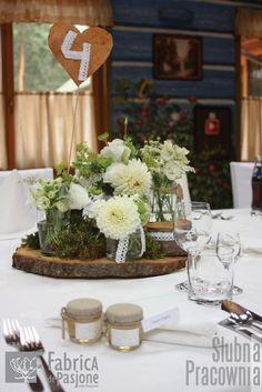 rustykalne dekoracje stołów weselnych / rustic wedding table decorations
