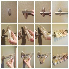 Shoes rack to organize your high heels using a curtain rod and Command™ Large…