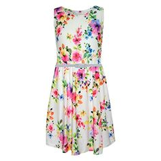 Girls Skater Dress Kids Purple Floral Print Summer Party Dance Dresses 213 Year -- To view further for this item, visit the image link.(It is Amazon affiliate link) #night