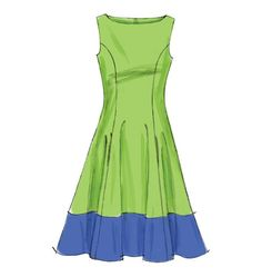 M6741 Fitted and flared, lined dresses have neckline variations, princess seams, side front pockets and back zipper 2-1/4yd
