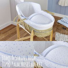 ♪♪♪ Starry, starry night... ♪♪♪ With the Stars & Stripes High Top® Palm Moses Basket. Shop here: http://www.clair-de-lune.co.uk/buy/stars-stripes-high-top%C2%AE-palm-moses-basket_799.htm