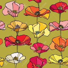 Image result for vintage poppy pattern