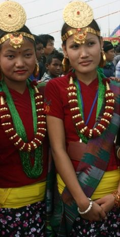 Nepal | Young Limbu women wearing traditional clothing and Samyangfung jewellery