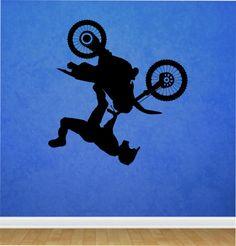 Dirt Bike Wall Decal Biker Flip Upside down motorcycle  Vinyl  Sticker Art Decor Bedroom Design Mural racing