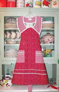 1940 red poka dot red gingham apron