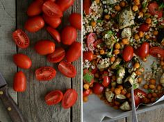 Salada de verão com beringela, tomate, cevada e grão crocante