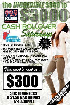 """Cash Rollover"" poster/flyer design for Denim & Diamonds in Wichita Falls #nightclub"