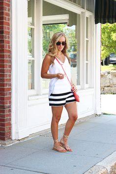 Black White Striped Shorts