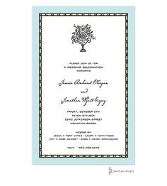 Border Aqua Wedding Invitation #weddinginvitations