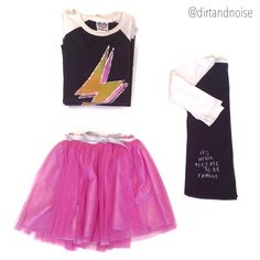 Attention D&N rock stars: It's never too late to be famous. Rock out in this Everbloom tutu and Junk Food bolt T!
