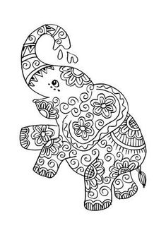 Cute elephant standing with white background. Elephant Coloring Page, Animal Coloring Pages, Coloring Book Pages, Elephant Colour, Cute Elephant, Elephant Doodle, Indian Elephant Art, Mandala Elephant, Mandala Drawing