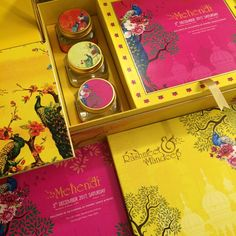 Planning your dream wedding? Box wedding invites are super classy and stylish. Here is my round up of the most awesome Box Wedding Invitations from across the internet. Illustrated Wedding Invitations, Indian Wedding Invitation Cards, Country Wedding Invitations, Wedding Card Design Indian, Indian Wedding Cards, Card Box Wedding, Wedding Gifts, Mehendi, Mithai Boxes