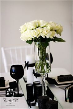 ,  black ,  decor ,  flowers ,  reception ,  table ,  theme ,  black black ,  Black Leesburg Bridal