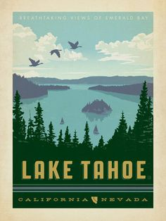 Lake Tahoe - Anderson Design Group has created an award-winning series of classic travel posters that celebrates the history and charm of America's greatest cities, national parks, etc. Founder Joel Anderson directs a team of talented Nashville-based artists to keep the collection growing. This print celebrates the pristine beauty of Lake Tahoe.<br />