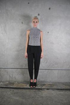 vintage 1980's black high waisted minimalist stirrup trousers ( VIP Fashion Australia www.vipfashionaustralia.com - international clothes shop )