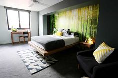 The Block Sky High: Room Reveal: Bec + George's bedroom great floating bed. Not sure about the wallpaper. Beautiful Houses Interior, Beautiful Bedrooms, Home Bedroom, Bedroom Decor, Bedroom Interiors, Bedroom Ideas, Dream Bedroom, Master Bedroom, Bedroom Wardrobe