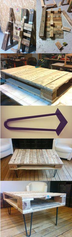 Mesa con un palé y pies hairpin - Muy Ingenioso