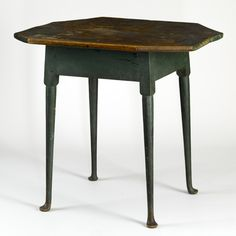 Queen Anne green painted octagonal-top tea table, circa 1760 ...~♥~