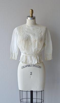 Edwardian blouse antique 1910s cotton blouse by DearGolden