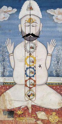 Yogin with six chakras, India, Punjab Hills, Kangra, late 18th century. Mainstream yoga and alternative health promotes 7 chakras, but it varies between 5-7 chakras in traditional texts.