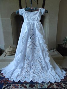 RARE ANTIQUE ANGLO-INDIAN CHIKAN EMBROIDERED CUTWORK CHRISTENING GOWN - C. 1860 | eBay  £90