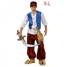 Arabian prince costume for man: This Arabian Prince costume for man consists of a tee-shirt with long sleeves, a trousers, a hat, a belt and shoes-cover. The white top with a blue waistcoat integrated have 2 golden chains stitch on. Xmas Costumes, Dance Costumes, Arabian Costumes, Party Costumes, Costume Prince, Carnival Outfits, Bollywood Party, Halloween Disfraces, Arabian Nights