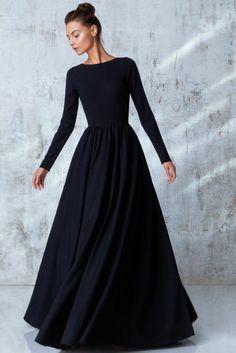 Noire robe longue fluide robe hiver tenue d hiver