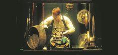 Morten Poulsen playing special drums. (Photo: EPA/Glenn Campbell)