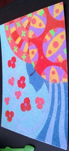 Graphisme : sables colorés, Mme D.
