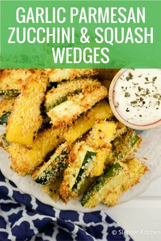 Baked Garlic Parmesan Zucchini and Summer Squash Wedges - Slender Kitchen. Works for Vegetarian and Weight Watchers® diets. 140 Calories.