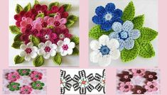 crochet flowers for embellishment Diy Crochet Flowers, Crochet Flower Tutorial, Knitted Flowers, Crochet Yarn, Diy Flowers, Kids Crochet, Chevron Crochet Patterns, Flower Chart, Little Flowers