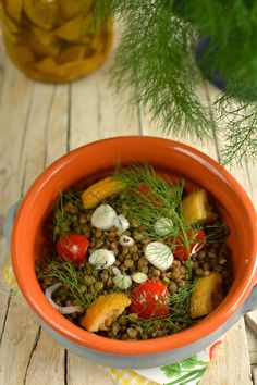 Puy Lentils Salad, with Dried Tomatoes, Lemon and Wild Fennel