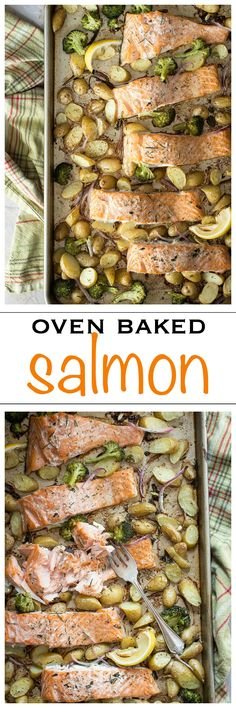 Easy One Pan Oven Baked Salmon for the whole family | Foodness Gracious