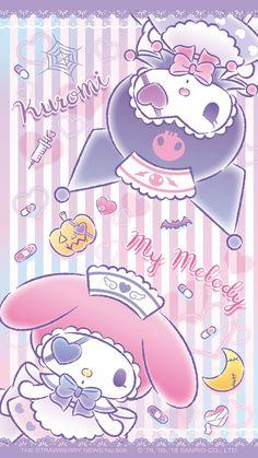 Hintergrund Kuromi et Melody / Sanrio Sanrio Wallpaper, My Melody Wallpaper, Hello Kitty Wallpaper, Kawaii Wallpaper, Iphone Wallpaper, Hello Kitty Art, Hello Kitty My Melody, Sanrio Hello Kitty, Arte Do Kawaii