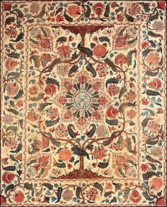 Painted-And-Dyed Cotton Palampore, Indian (Coromandel Coast) for the British or American Market, early century Chintz Fabric, Fabric Rug, Textile Patterns, Textile Design, Interior Design History, 18th Century Costume, Indian Textiles, Fabric Samples, Fabric Swatches