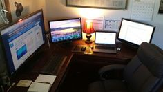 "High tech home office. Monitors: 39"" 1080p, 22"" (2x), laptop, desktop"