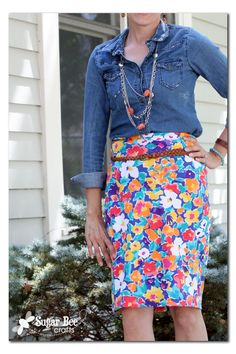 how to make your own Floral Knit Pencil Skirt with PAttern ~ Sugar Bee Crafts