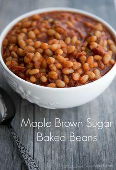 Maple Brown Sugar Baked Beans | Carrie's Experimental Kitchen #sundaysupper #glutenfree #beans