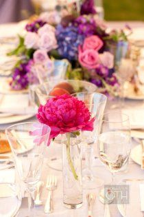 bud vases with single peony