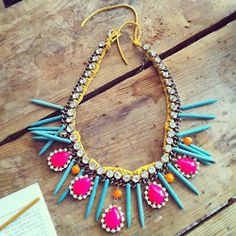 Hand painted rhinestone necklace statement bib neon pink yellow magnasite spikes turquoise orange suede ⇐ (This does not make sense but. Neon Jewelry, Rhinestone Necklace, Jewelery, Jewelry Accessories, Fashion Accessories, Fashion Jewelry, Diy Jewelry, Tribal Necklace, Choker